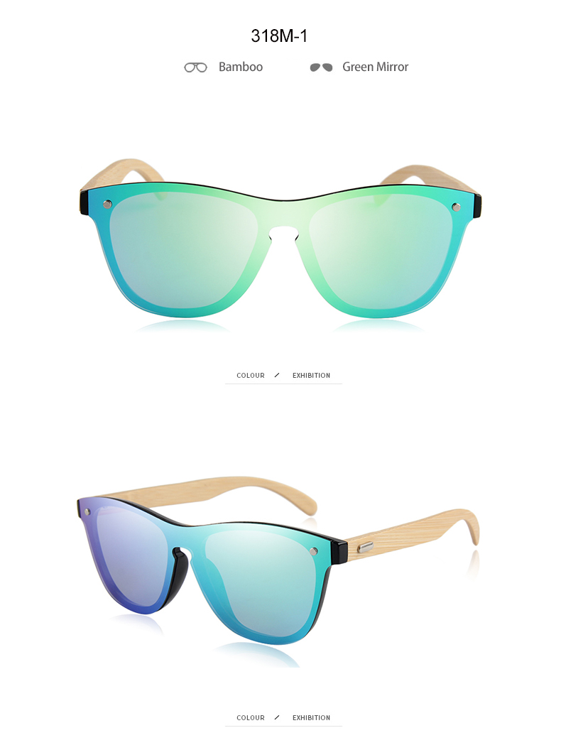 CONCHEN Mirror Lenses Bamboo Wooden Sunglasses 19