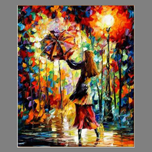 Handmade Rain Girl Colorful Palette Knife Figure Oil Painting On Canvas Modern Abstract Art Home Office Cafe Decoration No Frame