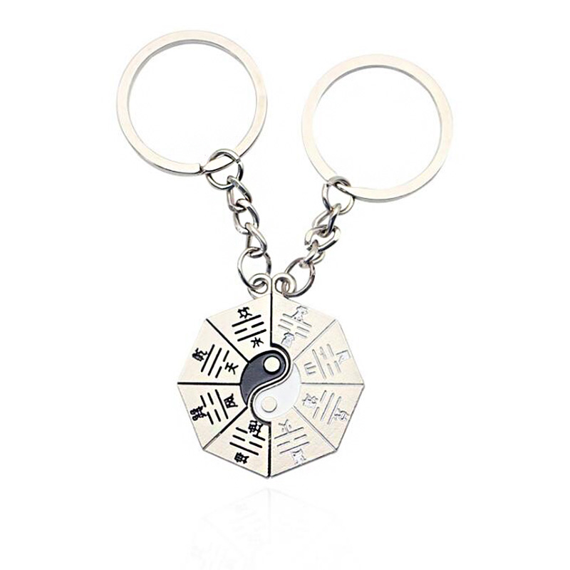 Factory direct Chinese feng shui scholar gossip pendant personalized creative lovers keychain pendant wholesale Tai Chi yin yang