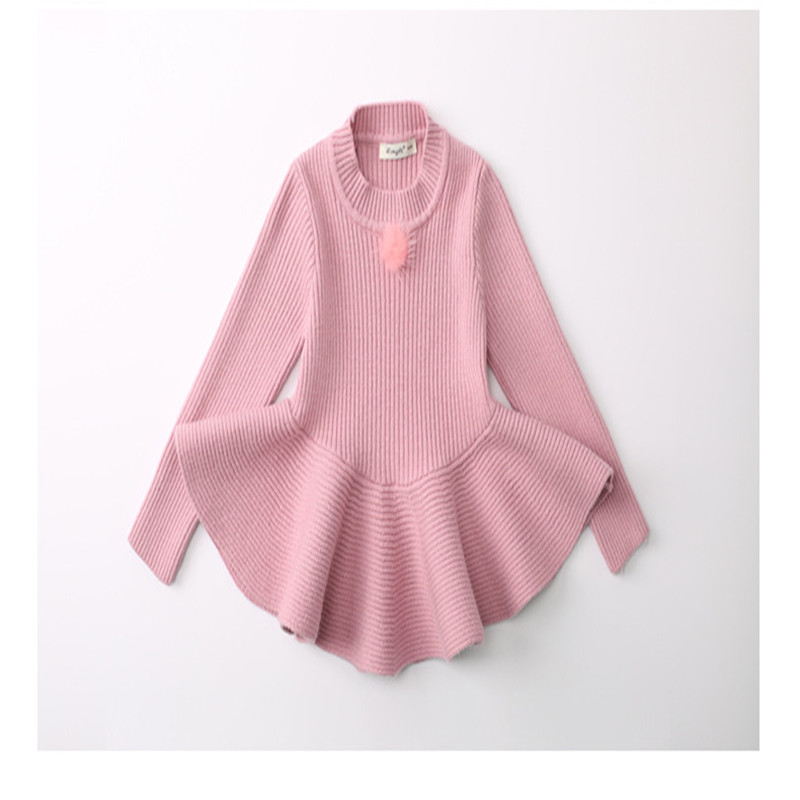 Toddlers Girls Sweater Dress pink gray colour Cute Child Baby ...