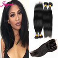 Lace Closure With Bundles Brazilian Virgin Hair Straight With Closure Cheap Brazilian Hair 4 Bundles With Closure Straight Weave