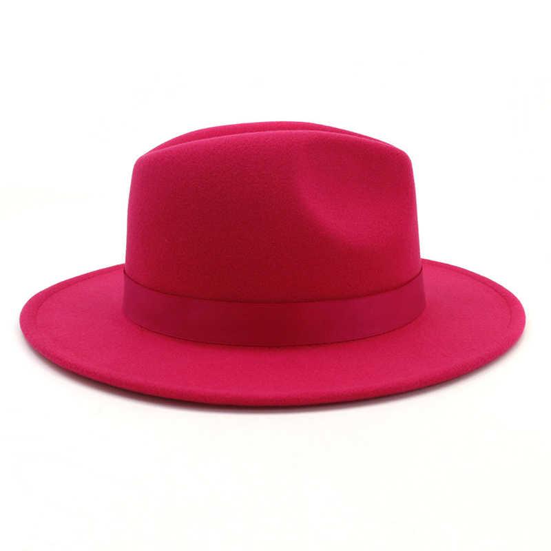 QIUBOSS Womens Dames Womens Rosy Wolvilt Jazz Fedora Hoeden Mode Vrouwen Trilby Platte Rand Panama Gokker Hoed Carnaval Cap