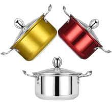 16.8CM Thickened Stainless Steel Hotpot Mini Saucepan Kitchen Cooking Soup Milk Pot For 1-2 People Induction Cooker 3 Colors цена и фото