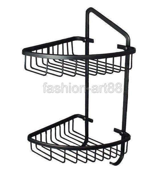 ФОТО Black Oil Rubbed Brass Wall Mounted Bathroom Accessory Bath Dual Tier Large Corner Shower Storage Basket aba108