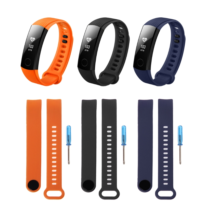 Watchband Strap For Huawei Honor Band 3 Replacement Silicone Black Wrist Bracelet Adjustable Universal Watch Strap in Watchbands from Watches