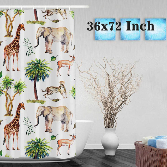 Wild Animals Nature Theme Shower Curtain Giraffe Elephant Goat Bathroom Curtains Watercolor Polyester Fabric With Hooks
