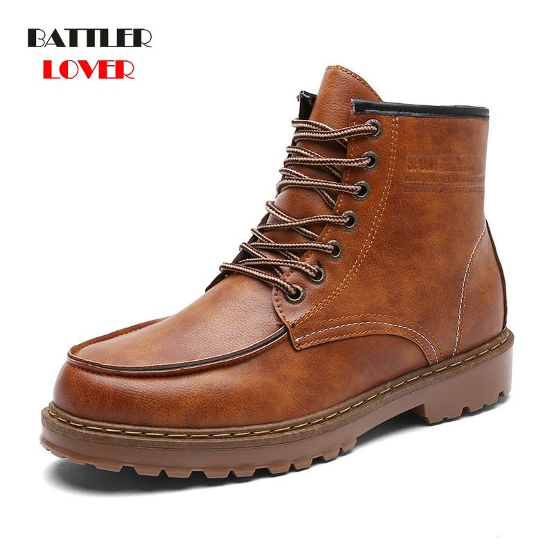2019 New Cowhide Split Autumn Winter Warm Fur Vintage Motorcycle Boots Male Men Martin Shoes Men Snow Ankle High Top Men
