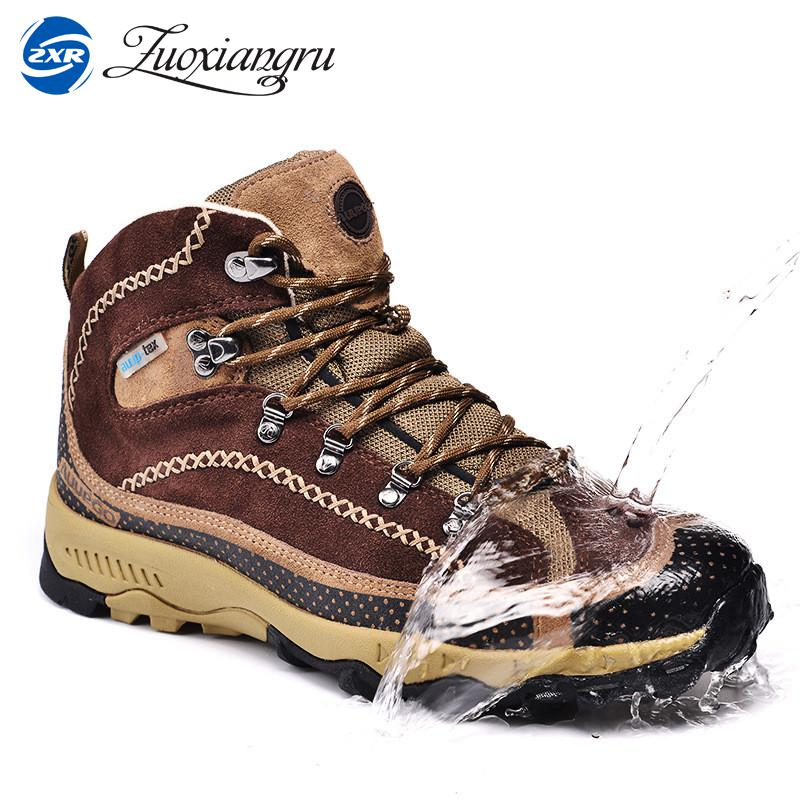 Real Leather Outdoor Hiking Shoes Plus Velvet Men Warm Snow Boots Walking Climbing Non-slip Women Hiking Shoes Trekking Shoes цена