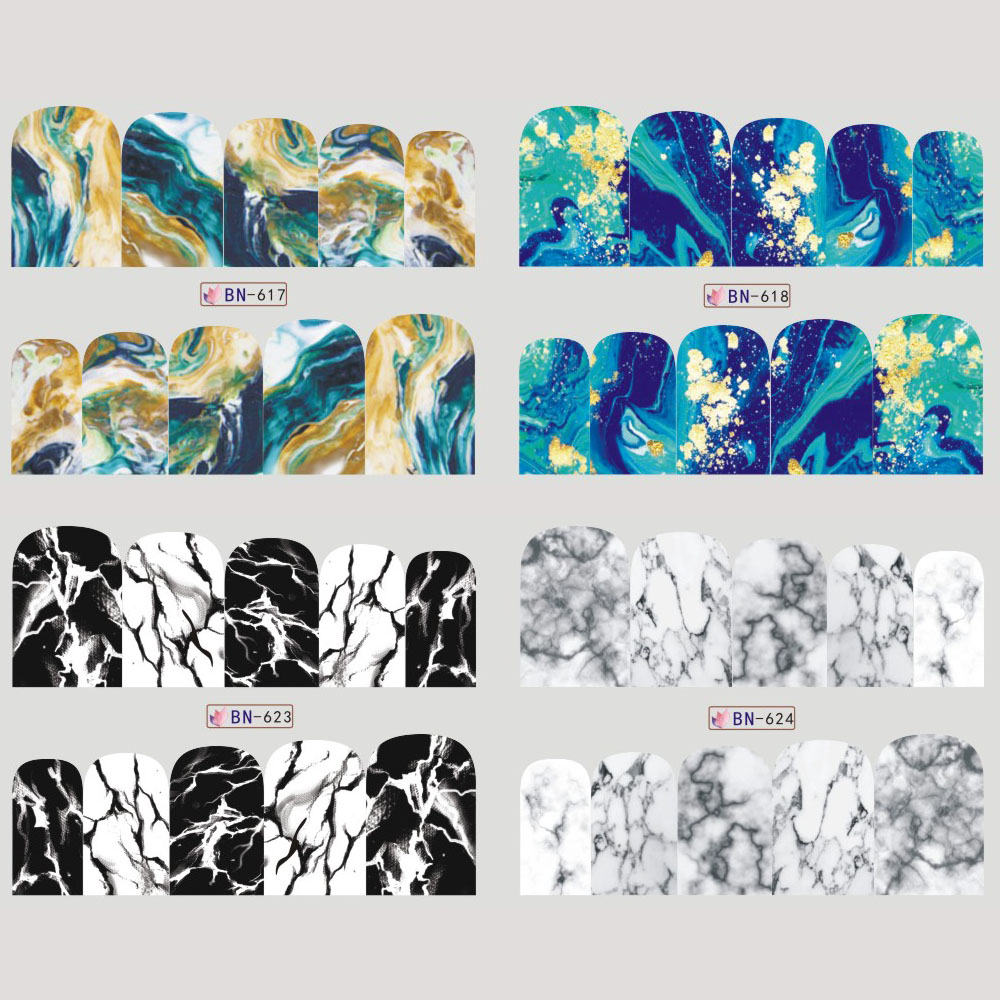 12 Designs Nagel Aufkleber Gradienten Marmor Muster Wassertransfer ...