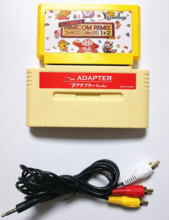 Pour adaptateur de F-C pour console SNES ou japonaise 16bit, jouez à la cartouche de jeu 8 bits 60 broches sur Console 16 bits avec panier de jeu 154 en 1