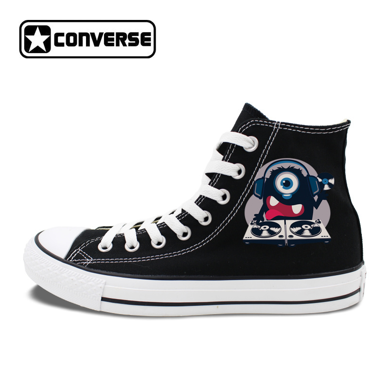 Original Chuck Sneakers Single-eyed Tiny Monster Music DJ Design Black Canvas Skateboard ...