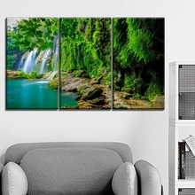Canvas Print Type Nature Tropical Forest Waterfall Painting Modular Art Combinatorial 3 Piece Wall Home Decor Living Room Style все цены