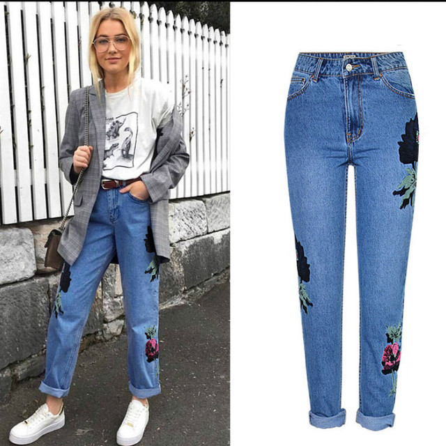 54f8a6c1f33 Embroidery High Waist Vintage Jeans Women Europe America Top Quality Loose  Straight Jeans Femme 3D Flowers Plus Size Trousers