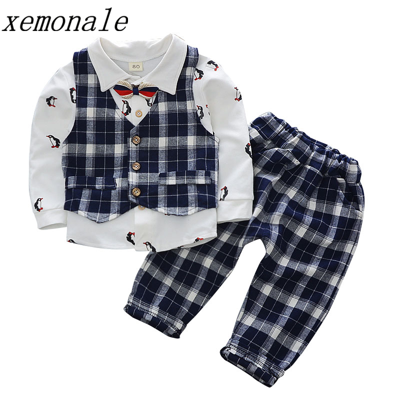 Spring Autumn Cotton Baby Boys Clothing Suits Children Vest Shrit Pants And Tie 4Pcs Sets Kids Formal Clothes Toddler Tracksuits 2016 spring autumn cotton fashion boys clothes 3pcs children clothing sets long sleeve t shirt vest casual pants outfits b235