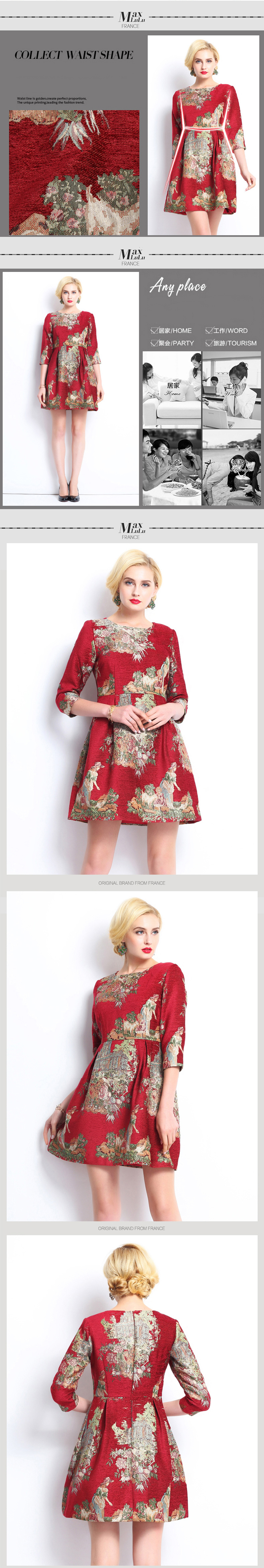 Max LuLu Autumn 2017 Luxury Brand Red Floral Women's Vintage Dresses Slash Neck Party Ladies Knitted Dress Brand Clothing XXXL 3