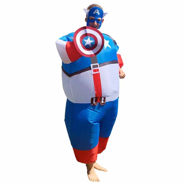 Captain America Adult Mens Fan Inflatable Costume Suit Superhero Hero Funny Cosplay Carnival Halloween Costume For  sc 1 st  AliExpress.com & Captain America Adult Mens Fan Inflatable Costume Suit Superhero ...
