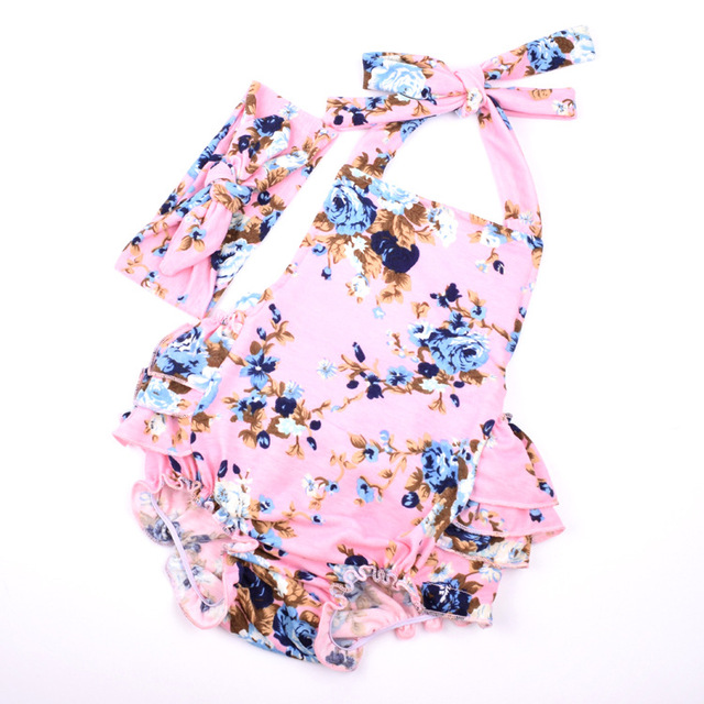 0871f4076cd Fashion Floral Baby Bubble Romper
