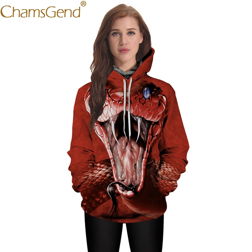 Chamsgend Hoodies Women Man Lover 3D Scary Snake Print Blouse 2018 Female Red Hoodie Sweatshirt with Pocket 71228