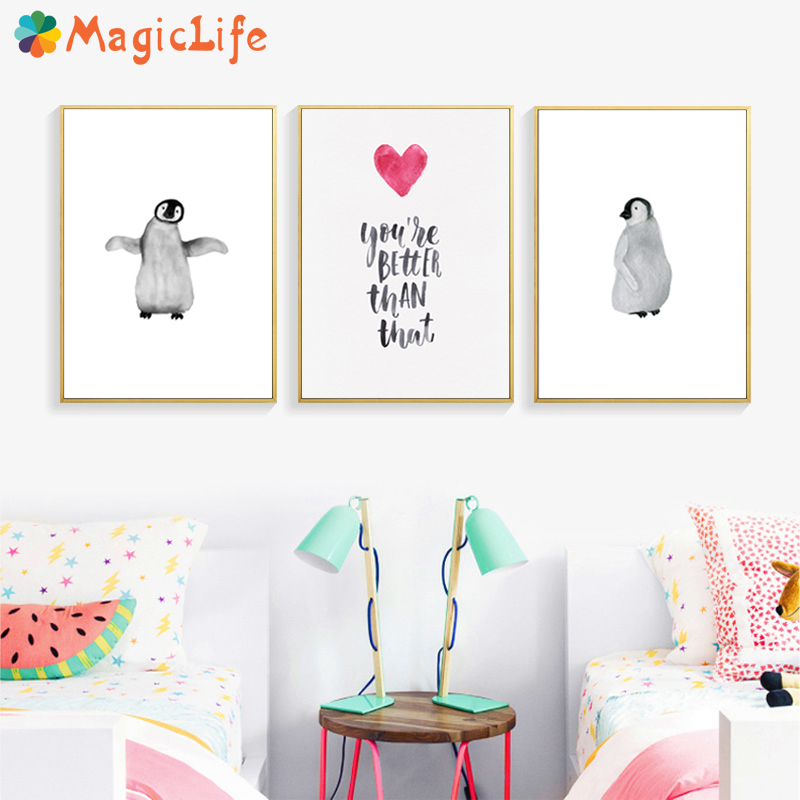Penguin Poster Animals WallArt Kids Posters And Prints Canvas Painting Nordic Black White Cartoon Quotes Decoration Unframed