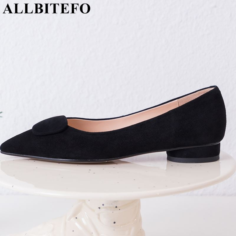 ALLBITEFO fashion genuine leather woman shoes low heel shoes pointed toe high quality comfortable casual girls woman shoesALLBITEFO fashion genuine leather woman shoes low heel shoes pointed toe high quality comfortable casual girls woman shoes