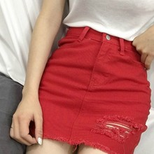 EXOTAO Irregular Hole Female Denim Skirts Summer Slim Faldas Mujer Solid High Waist Saia Jeans Casual A-line Skirts S-L 2017