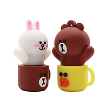 Pendrive cartoon Rabbit cup usb flash drive 4GB 8GB 16GB 32GB 64GB brown bear memory stick u disk creative gfit pen