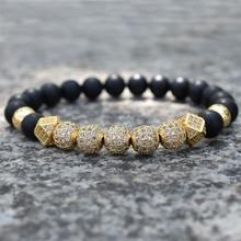 Natural matte stone beads bracelet men
