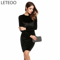 LETEOO Spring Women Long Sleeve Velvet Elegant Bodycon Cocktail Party Pencil Dress Female Fashion Sexy Evening