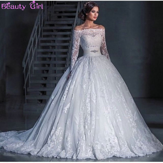 A Line Boat Neck Long Sleeve Silk Sashes Beaded Lace Wedding Dresses Bride Dress