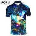 Forudesigns marcas homens polo homme fino fresco galaxy espaço de impressão de verão de algodão mercerizado de manga curta camisa polo camisa dos homens