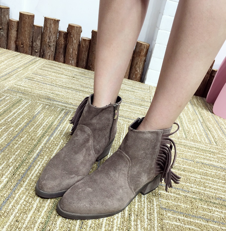 Pointed Toe Women Boots 2016 Spring And Autumn Suede Fringed Boots Zipper Ankle Boots For Women Thick Heel 5.5cm Botas Mujer egonery quality pointed toe ankle thick high heels womens boots spring autumn suede nubuck zipper ladies shoes plus size