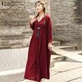 Zanzea mujeres long dress 2017 otoño de gran tamaño retro de manga larga elegante flojo ocasional vestidos de las señoras con cuello en v solid maxi largo dress