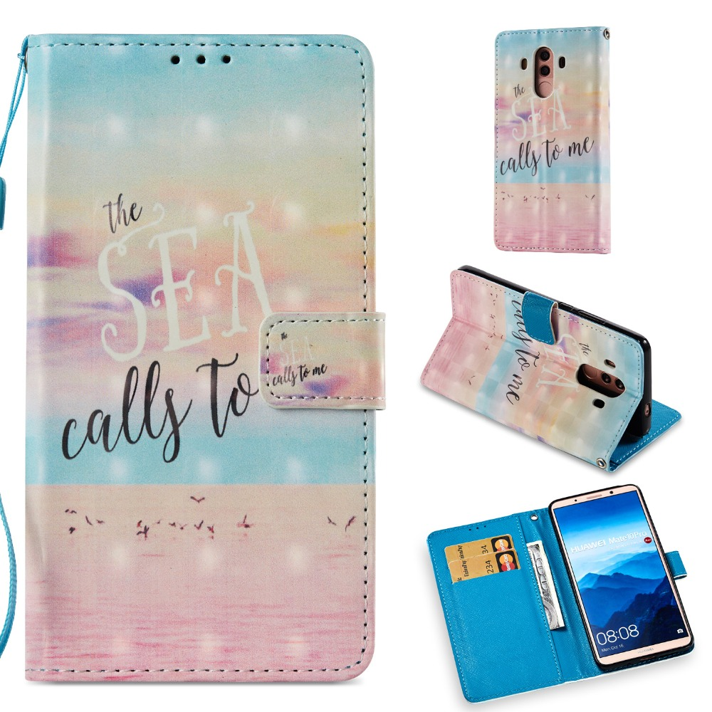 HYAIZLZ Cases for MATE 10 PRO Wallet Case Inline Magnet Button Pattern Wallet Leather Stand Case for Huawei MATE 10 Pro Cover