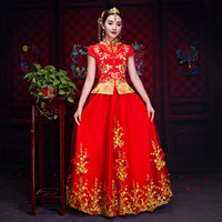 New lace Bride Traditions Women flower Mbroidery Cheongsam Red Short Sleeve Qipao Pattern Chinese Traditional Wedding Dress