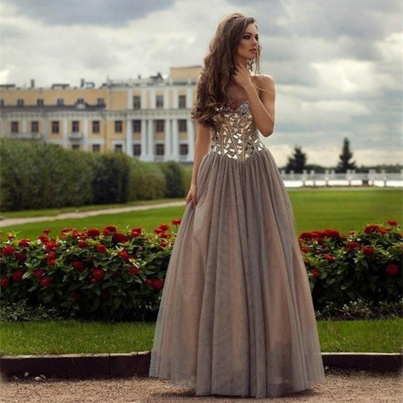 Custom made 2017 Sexy de L'épaule Argent Perles Paillettes Chérie De Bal Robes A-ligne robe para formatura