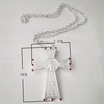 Collar De Cruz Católico Juses Chapado En Oro Plata Metal Artesanías Decoración Del Hogar Accesorio Icono Religioso Ortodoxo Bautismo Regalos Colgante