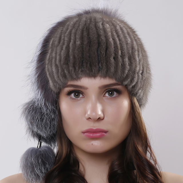 Genuine Knitted Mink Fur Hat With Silver Fox Fur Pom Poms Beanies Winter Russia Style Women Real Fur Cap headdress