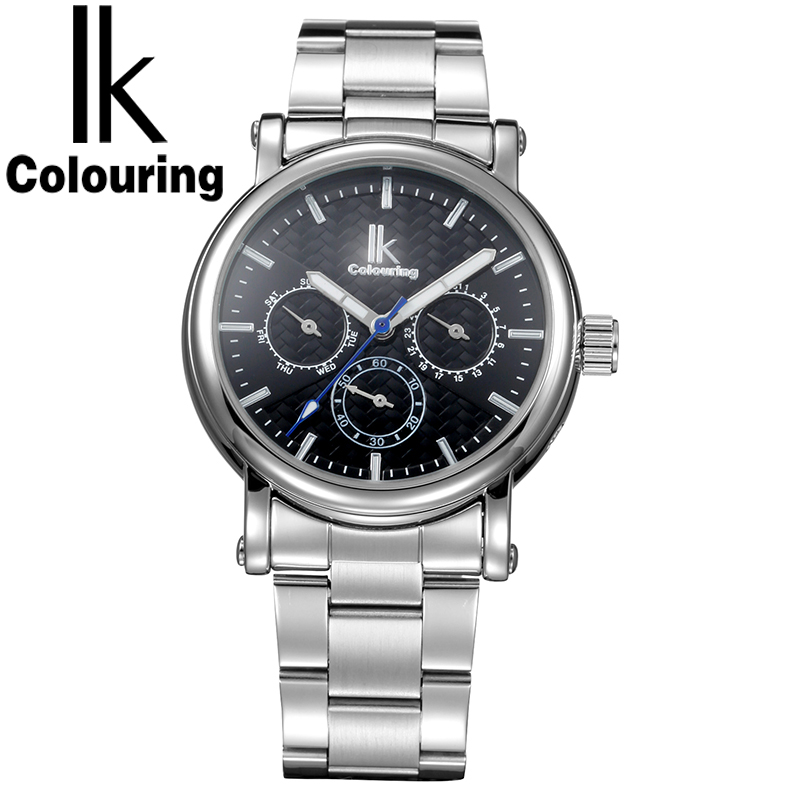 IK Colouring Mens Watches Top Brand Luxury Automatic Wrist Watch Stainless Steel Business Fashion Design Relogio Masculino luxury brand mg orkina new design relogio masculino engraving skeleton mens automatic watches top brand wrist watch