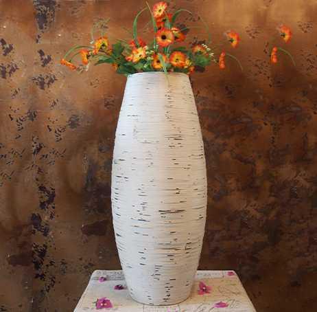Kínai fehér és barna szürke bambusz padló váza nagy kézműves - Lakberendezés - Fénykép 2