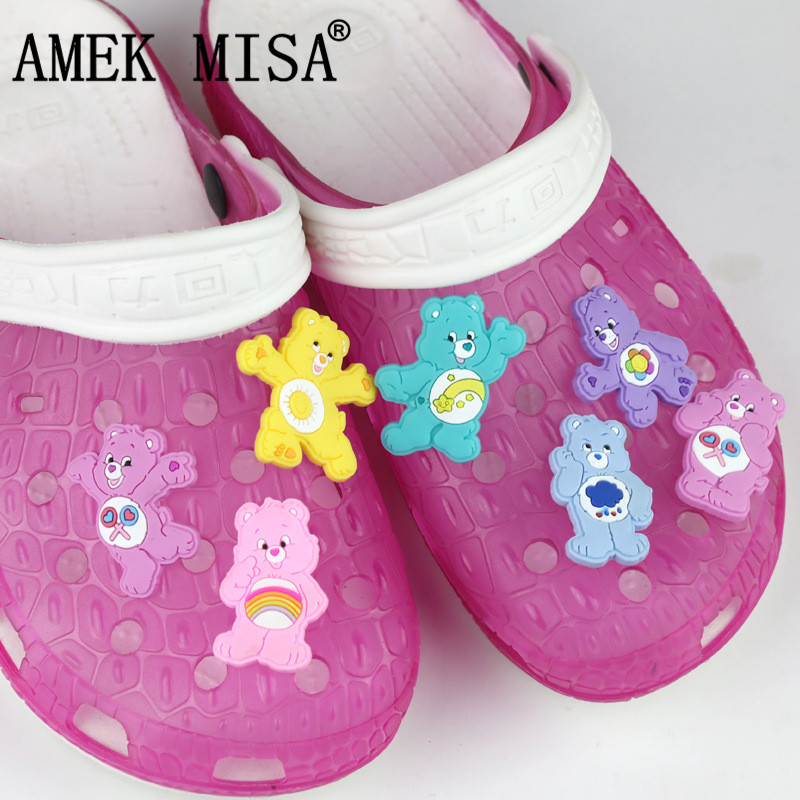 Cute Rainbow Bear Shoe Accessories Charm Decorations 7 Pcs A Set PVC Garden Shoes Buckle Fit Bands/Bracelets/Croc/Wristbands D05