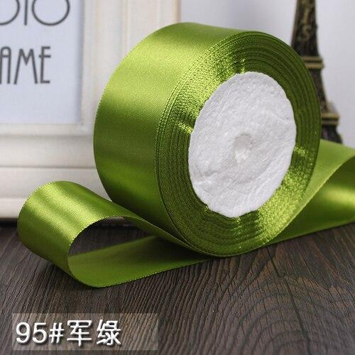 25 ярдов/рулон 6 мм, 10 мм, 15 мм, 20 мм, 25 мм, 40 мм, 50 мм, шелковые атласные ленты для рукоделия, швейная лента ручной работы, материалы для рукоделия, подарочная упаковка - Цвет: Army green