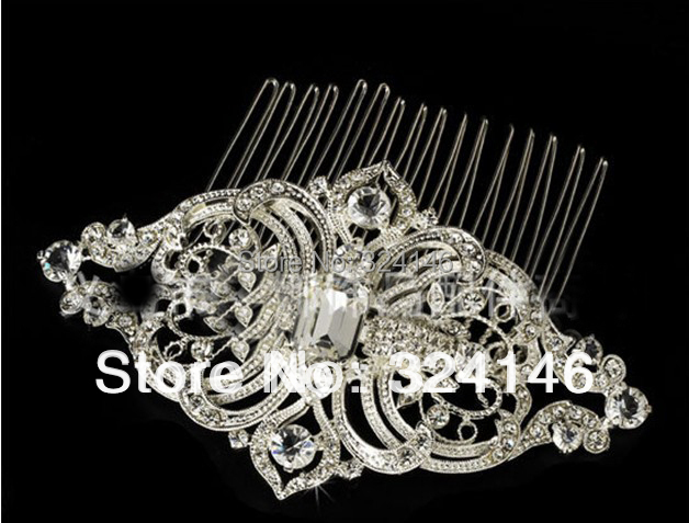 2016 Fashion Elegant handmade crystal Bridal hair comb Trendy Silver hair clip for ladies Wedding hair jewelry comb wholesale