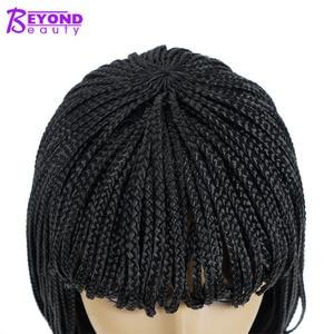 Image 4 - 12 cal peruka syntetyczna krótkie plecionki Box warkocz peruki dla kobiet z Bangs natura czarny Pixie warkocze peruka włókno termoodporne