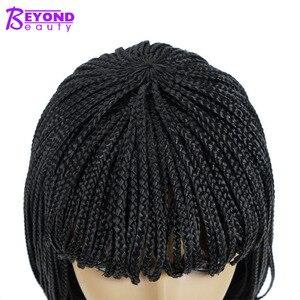Image 4 - 12inch 합성 가발 짧은 꼰 상자 끈으로 묶은 가발 여성을위한 bangs 자연 블랙 pixie braids 가발 내열성 섬유