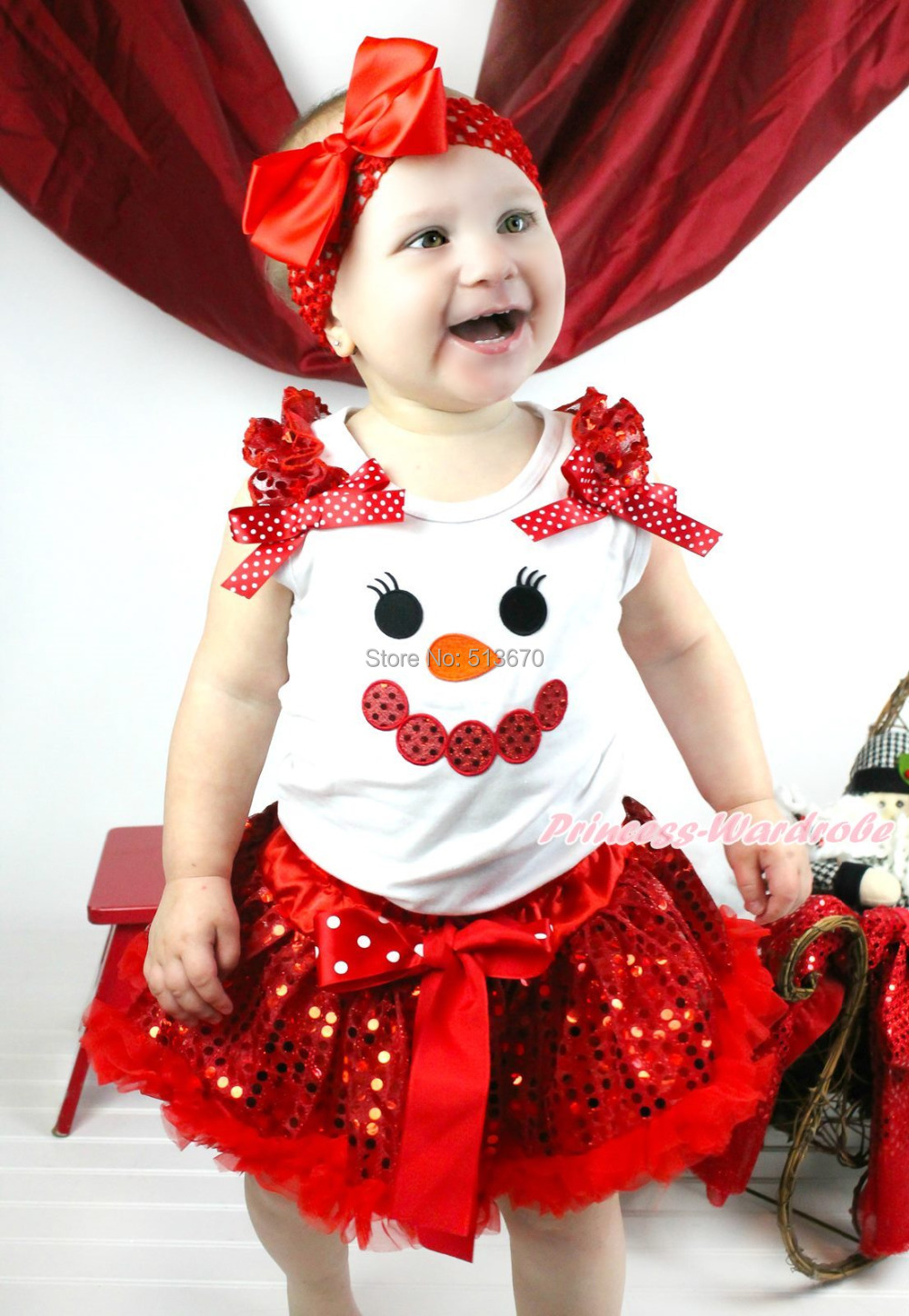 XMAS Minnie Snowman Print White Top Sparkle Sequins Red Pettiskirt Girl Outfit 1-8Y MAPSA0331 xmas minnie snowman white shirt top santa claus skirt girl clothing outfit 1 8y