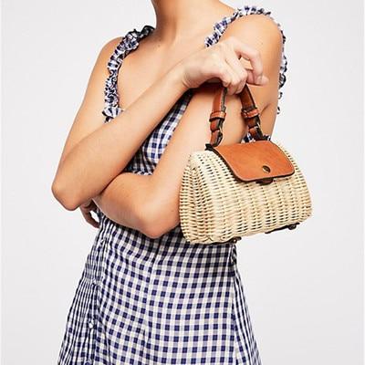 все цены на Women's woven Casual Boston handbags Handmade Straw Bag PU Leather girls Vintage Square Straw Crossbody Bag Weaving shoulder bag