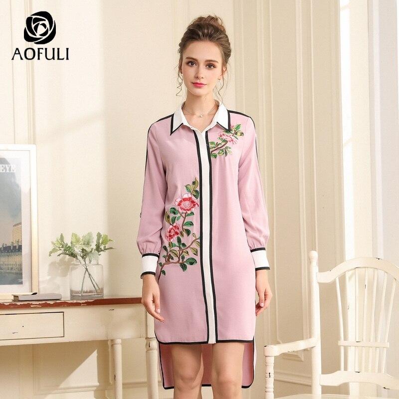 Aofuli 디자이너 꽃 자수 드레스 활주로 스타일 가을 패션 높은 낮은 파티 드레스 긴 소매 l xxxl 4xl 5xl a3692-에서드레스부터 여성 의류 의  그룹 2