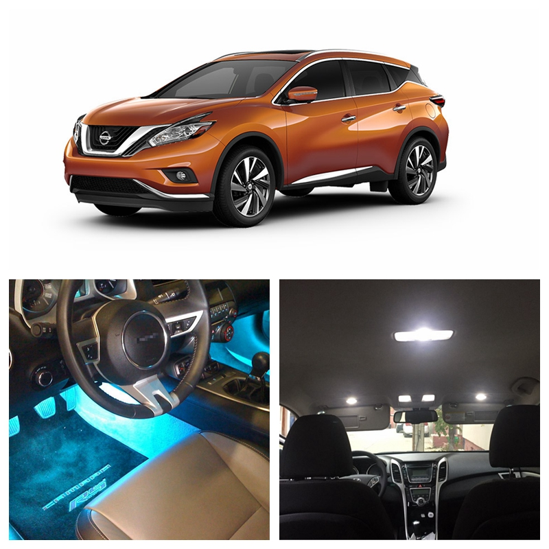 14pcs White Ice Blue LED Light Bulbs For 2009-2015 Nissan Murano Interior Package Kit License Plate Lamp Nissan-EF-14 2pc abs after the triangle decorate for nissan murano 2015