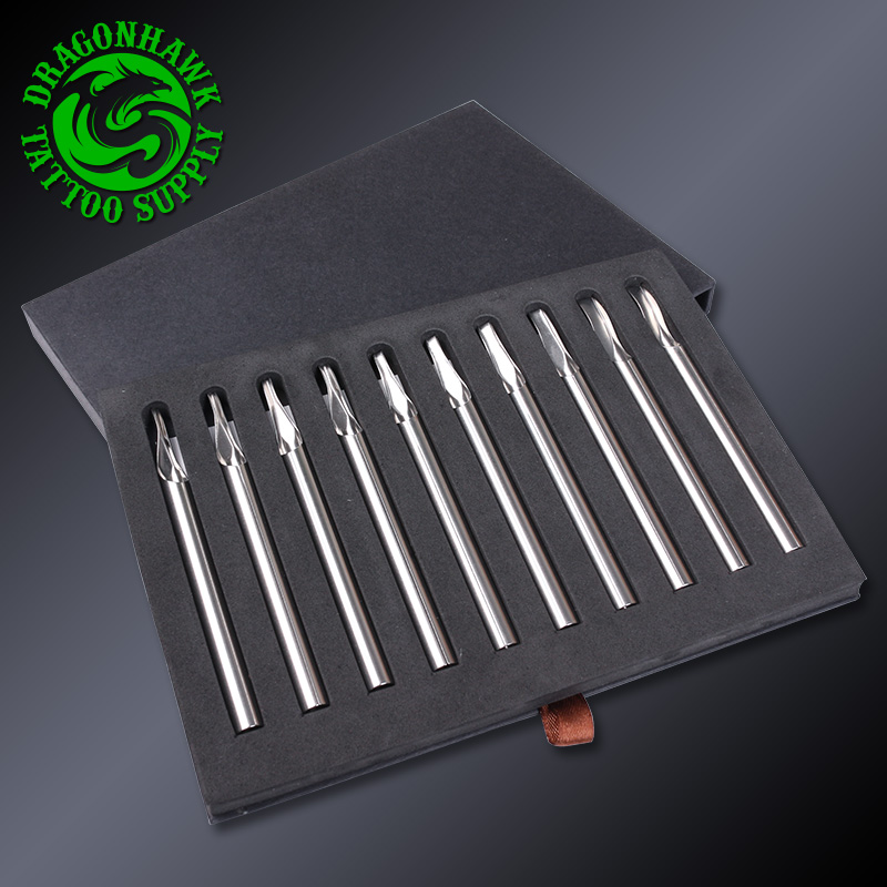 10 Pcs Sizes Long Stainless Steel Tattoo Tips Tattoo Supply Set