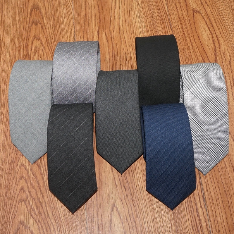 2018 New Casual Fashion Narrow 6cm Mens Ties High Quality 100% Wool Tie Black Gray Blue Business Small Necktie With Gift Box